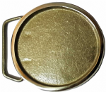 40mm ROUND BLANK (SOLID BRASS) BELT BUCKLE (outer diameter 60mm) + display stand. Product code: HK5